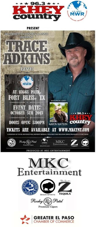 Trace Adkins - Online ticket sales are over. Tickets are available at the door (Biggs Park, Fort Bliss, TX) 2:00PM through sellout.